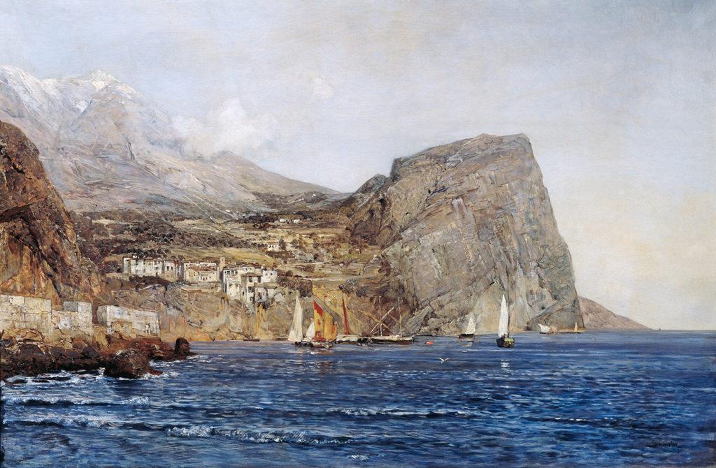 Emil Jakob Schindler's  Küstenlandschaft in Dalmatien (Dalmatian Coastline), painted in 1890.