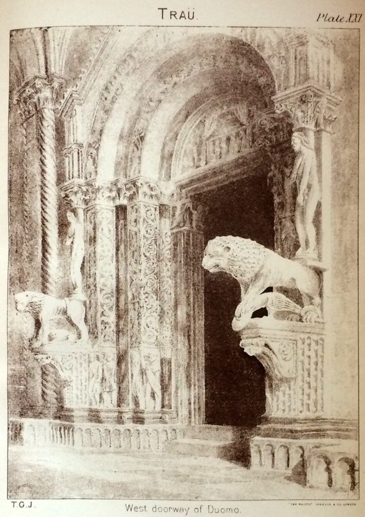 West doorway of Duomo (Trau), print from the T.G. Jackson's book. Collection of T.G. Jackson's watercolours with Dalmatian motives is kept in Split City Museum from 2006.